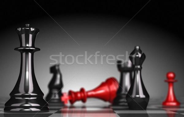 Strategie schaakbord selectieve aandacht koningin Stockfoto © olivier_le_moal