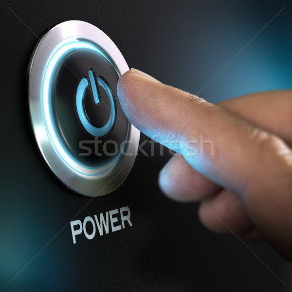 Finger Pressing Power Button on a Computer Stock photo © olivier_le_moal