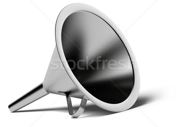 Metal lejek biały cień stali płynnych Zdjęcia stock © olivier_le_moal