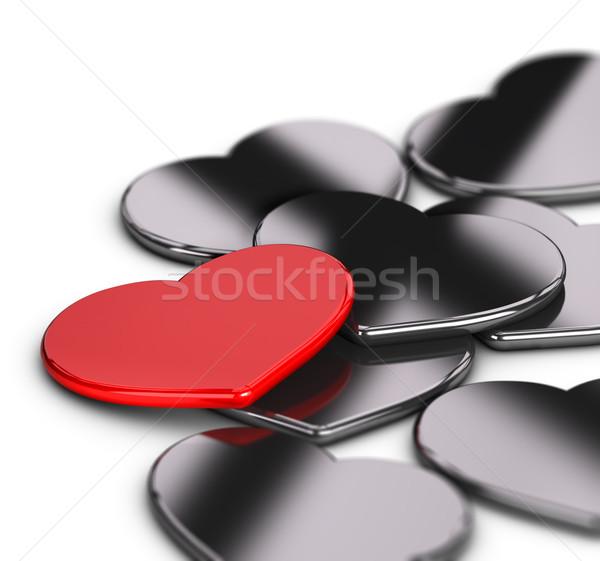 Liebe Hochzeitseinladung Karte rot metallic Herz Stock foto © olivier_le_moal