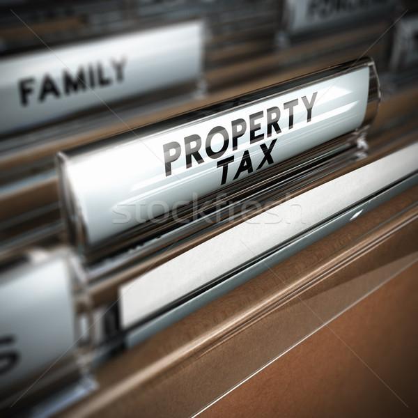 Tulajdon adó akták szöveg írott közelkép Stock fotó © olivier_le_moal