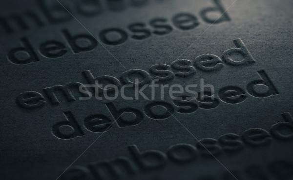 Illustrazione 3d due parole nero texture carta sfondo Foto d'archivio © olivier_le_moal