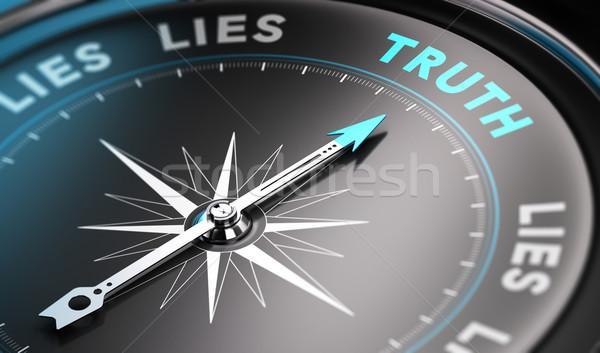 Prawda czarny kompas igły wskazując słowo Zdjęcia stock © olivier_le_moal