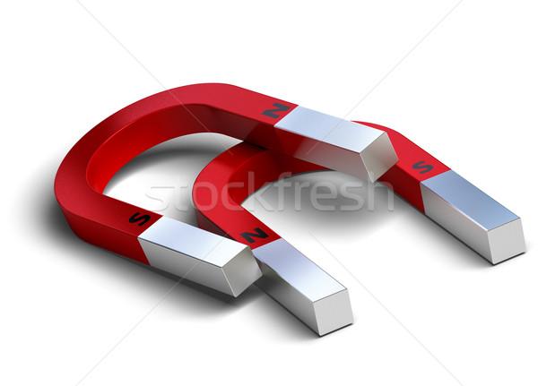 Herradura imanes rojo blanco norte sur Foto stock © olivier_le_moal
