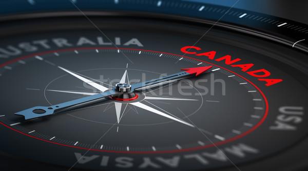 Канада черный компас иглы указывая стране Сток-фото © olivier_le_moal