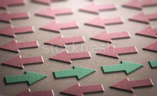 Trend ellenkező mozgás 3d illusztráció piros nyilak Stock fotó © olivier_le_moal