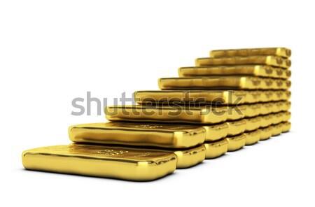 Arany növekedés fehér készít oszlopdiagram pénz Stock fotó © olivier_le_moal