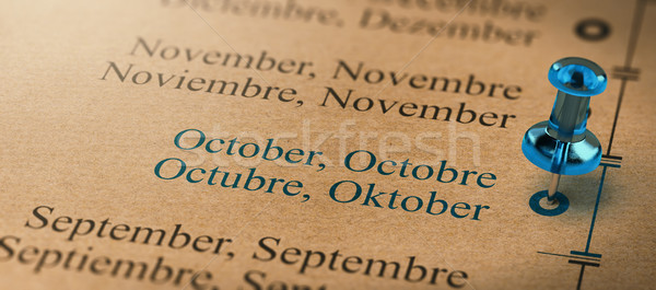 Focus on October, Months of the Year Calendar Stock photo © olivier_le_moal