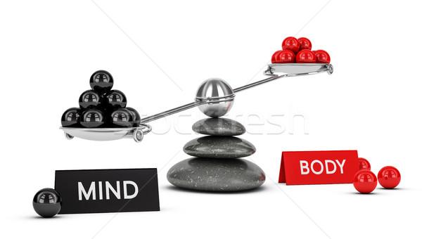 Corpo mente equilibrio illustrazione 3d altalena sfere Foto d'archivio © olivier_le_moal