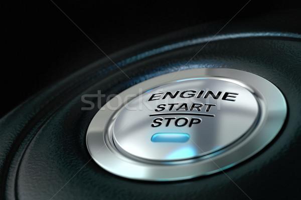 Samochodu silnika początku stop przycisk niebieski Zdjęcia stock © olivier_le_moal