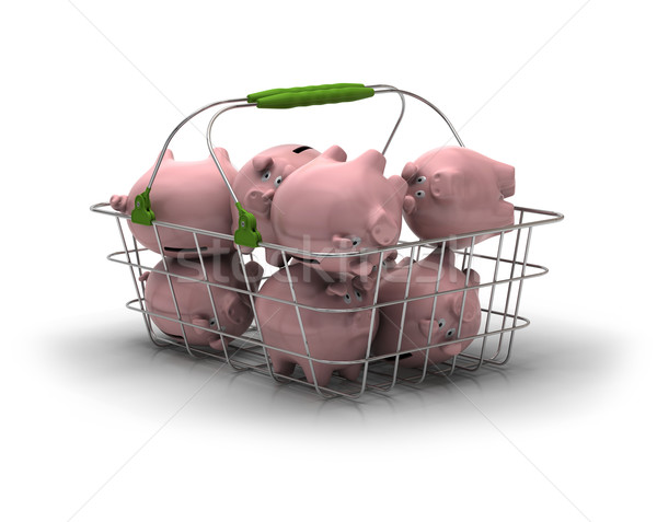 Ahorro dinero metal cesta rosa Foto stock © olivier_le_moal