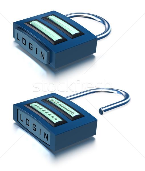 Cadeado internet segurança 3D nome de usuário senha Foto stock © olivier_le_moal