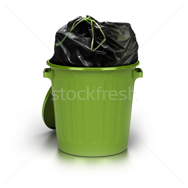 Stock photo: green garbage can. white background