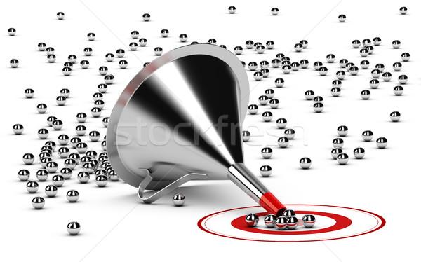 процесс продажи воронка 3d иллюстрации белый металл Сток-фото © olivier_le_moal