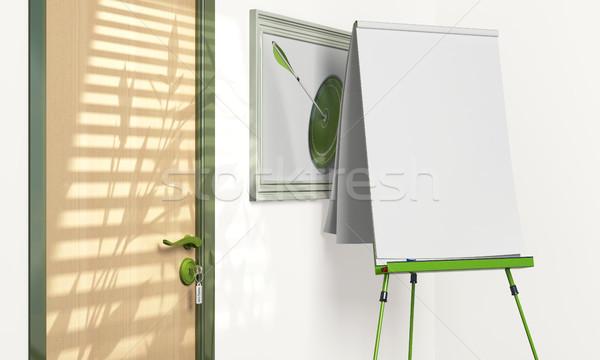 Flipchart bent tárgyalóterem copy space zöld papír Stock fotó © olivier_le_moal