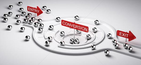 маркетинга воронка 3d иллюстрации выход бизнеса продажи Сток-фото © olivier_le_moal
