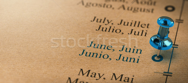 Focus maanden jaar kalender 3d illustration project Stockfoto © olivier_le_moal