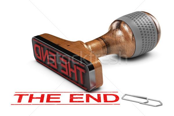 конец слово белый 3d иллюстрации красный Сток-фото © olivier_le_moal