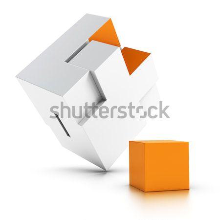 Kayıp 3D bilmece turuncu beyaz simge Stok fotoğraf © olivier_le_moal