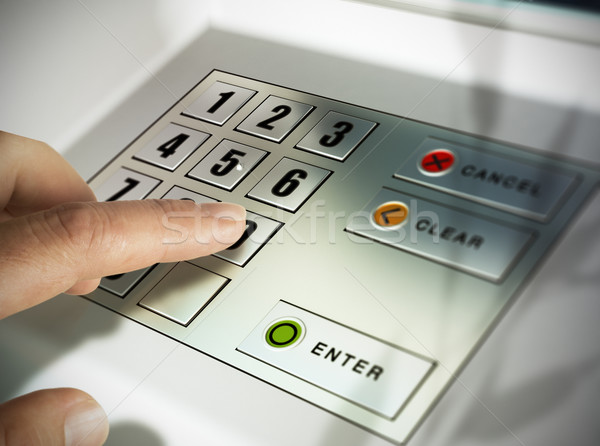 Machine atm doigt presse broches code Photo stock © olivier_le_moal