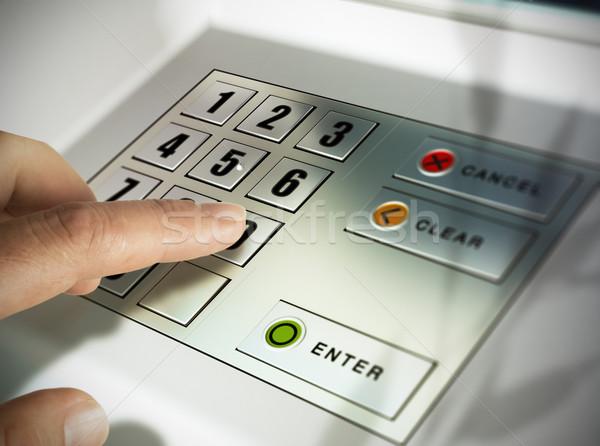 マシン 気圧 指 キーを押します ピン コード ストックフォト © olivier_le_moal