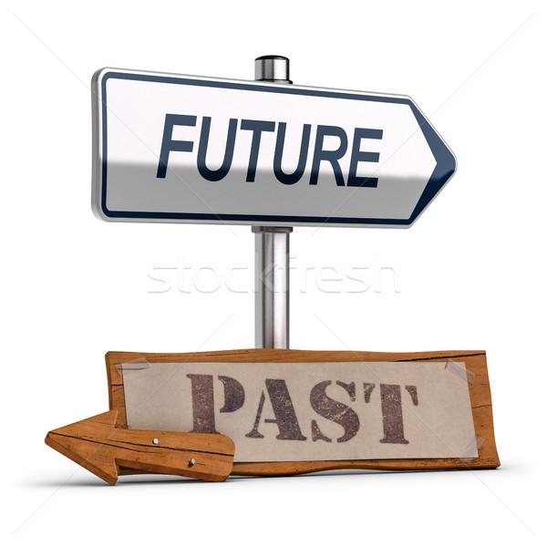 Business visione futuro passato illustrazione 3d due Foto d'archivio © olivier_le_moal
