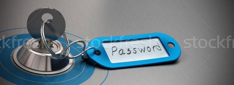Jelszó védett internet biztonság kulcs kék Stock fotó © olivier_le_moal