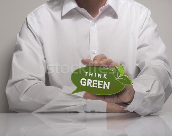 Környezet kép férfi kéz tart szöveglufi Stock fotó © olivier_le_moal