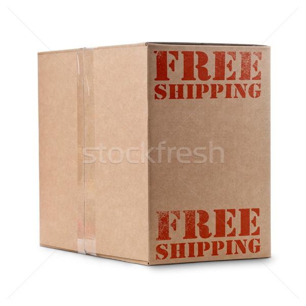 ücretsiz gönderim kutu yazılı kırmızı renk Stok fotoğraf © olivier_le_moal