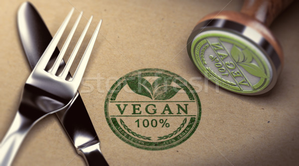 Vegan restaurante garfo faca texto Foto stock © olivier_le_moal