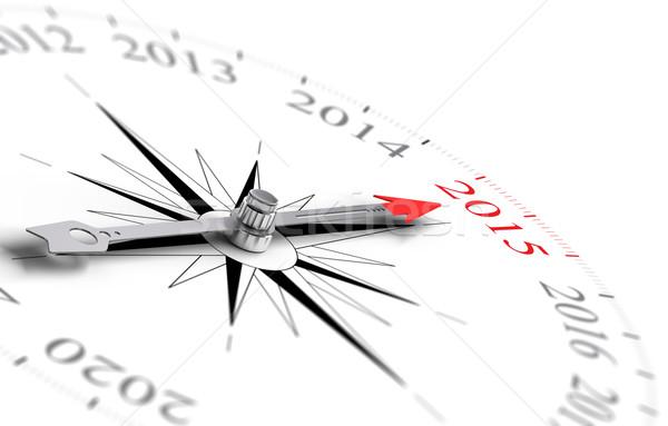 év 2015 iránytű piros tű mutat Stock fotó © olivier_le_moal
