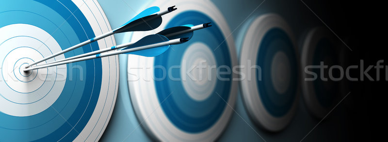 Stock photo: blue targets and arrow