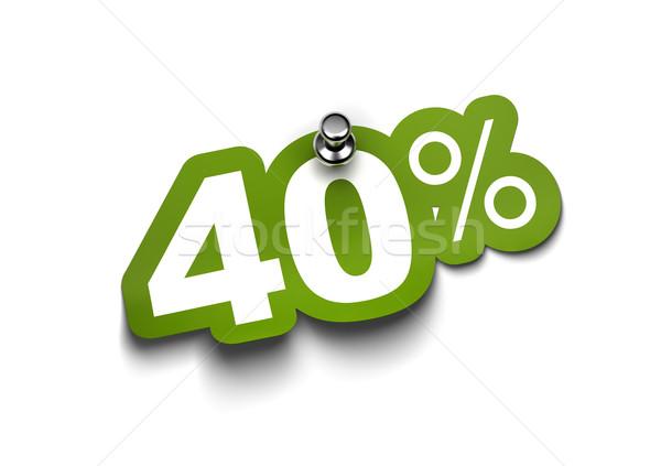 Negyven százalék matrica zöld fix fehér Stock fotó © olivier_le_moal