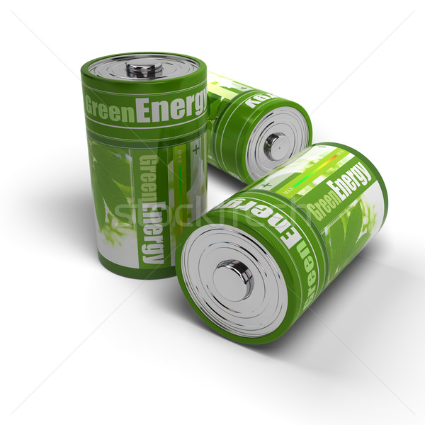 renewable energies concept - green and eco friendly batteries