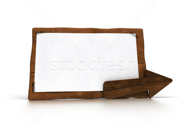 old wooden panel over white with wood arrow  Stock photo © olivier_le_moal