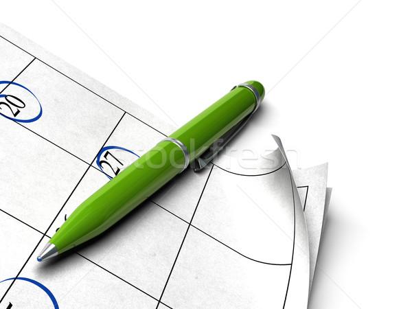 Vergadering agenda witte groene bal punt Stockfoto © olivier_le_moal
