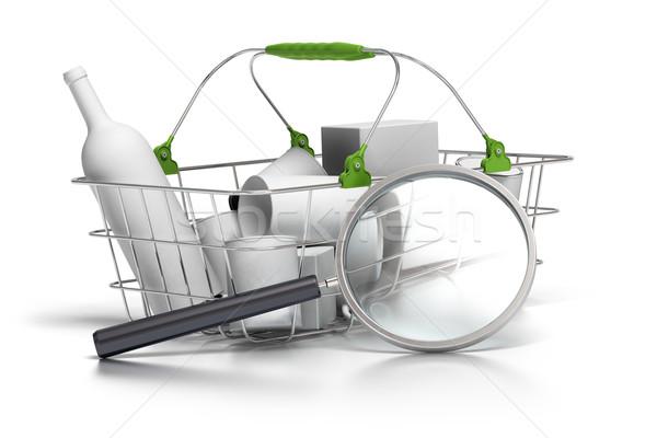 Fogyasztás elemzés átlagos kosár nagyító elemző Stock fotó © olivier_le_moal