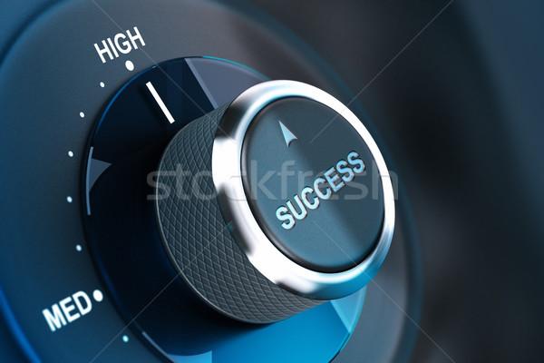 Foto stock: Alto · nível · sucesso · botão · palavra
