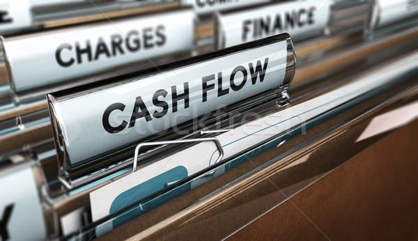 Bedrijf cashflow 3d illustration map tekst boekhouding Stockfoto © olivier_le_moal