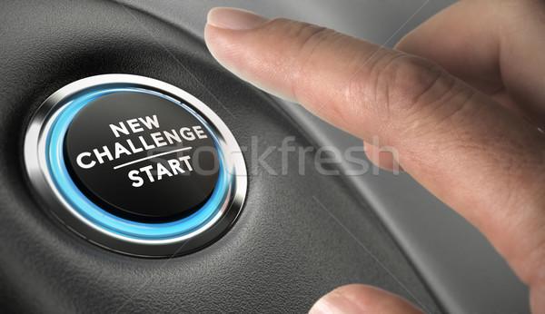 Motywacja palec naciśnij wyzwanie przycisk ambitny Zdjęcia stock © olivier_le_moal