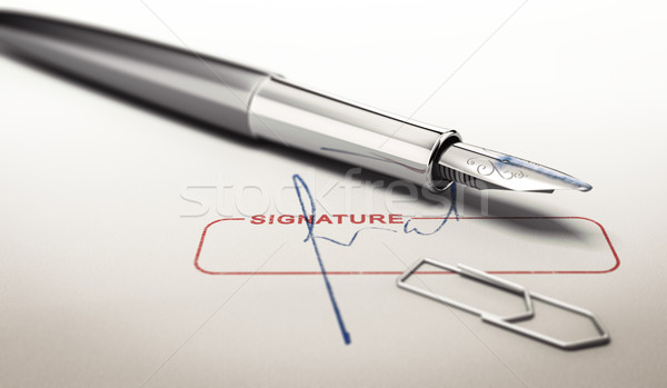 Signature and Fountain Pen Stock photo © olivier_le_moal