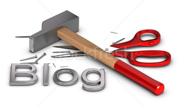 Blog csináld magad csináld magad szó írott fém Stock fotó © olivier_le_moal