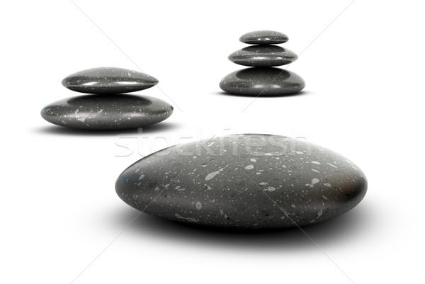 Harmonia trzy kamienie biały Zdjęcia stock © olivier_le_moal