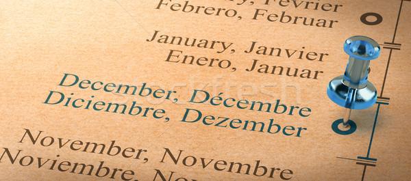 Fókusz december hónapok év naptár 3d illusztráció Stock fotó © olivier_le_moal