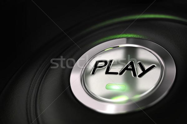 Zdjęcia stock: Grać · przycisk · czarny · słowo · świetle