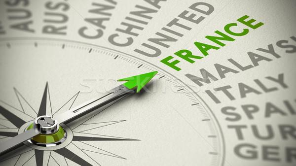 Viaje la toma de decisiones Francia brújula verde aguja Foto stock © olivier_le_moal