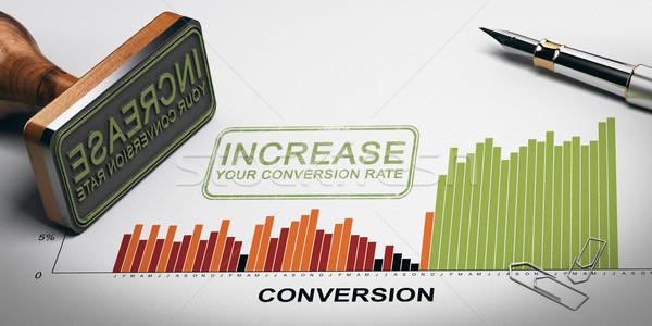 Taux optimisation marketing performances papier fiche Photo stock © olivier_le_moal