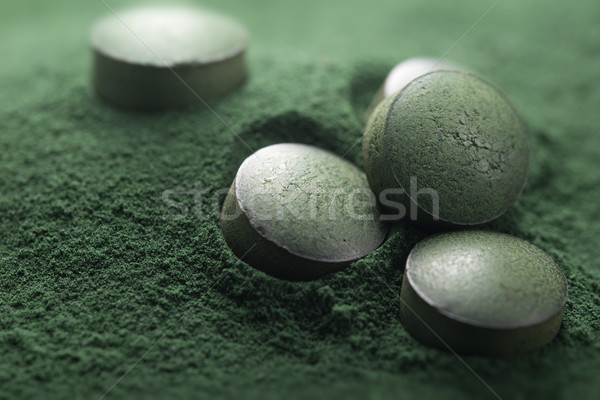 Close up of Atisanal Spirulina Tablets and Powder Stock photo © olivier_le_moal