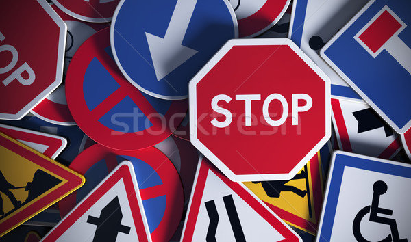 French Road Signs, Safety Stock photo © olivier_le_moal
