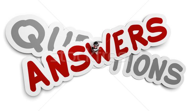 Vragen antwoorden een sticker vast Stockfoto © olivier_le_moal